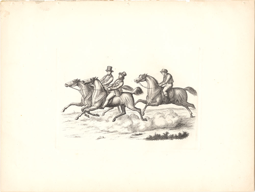{Group of riders in gallop}
