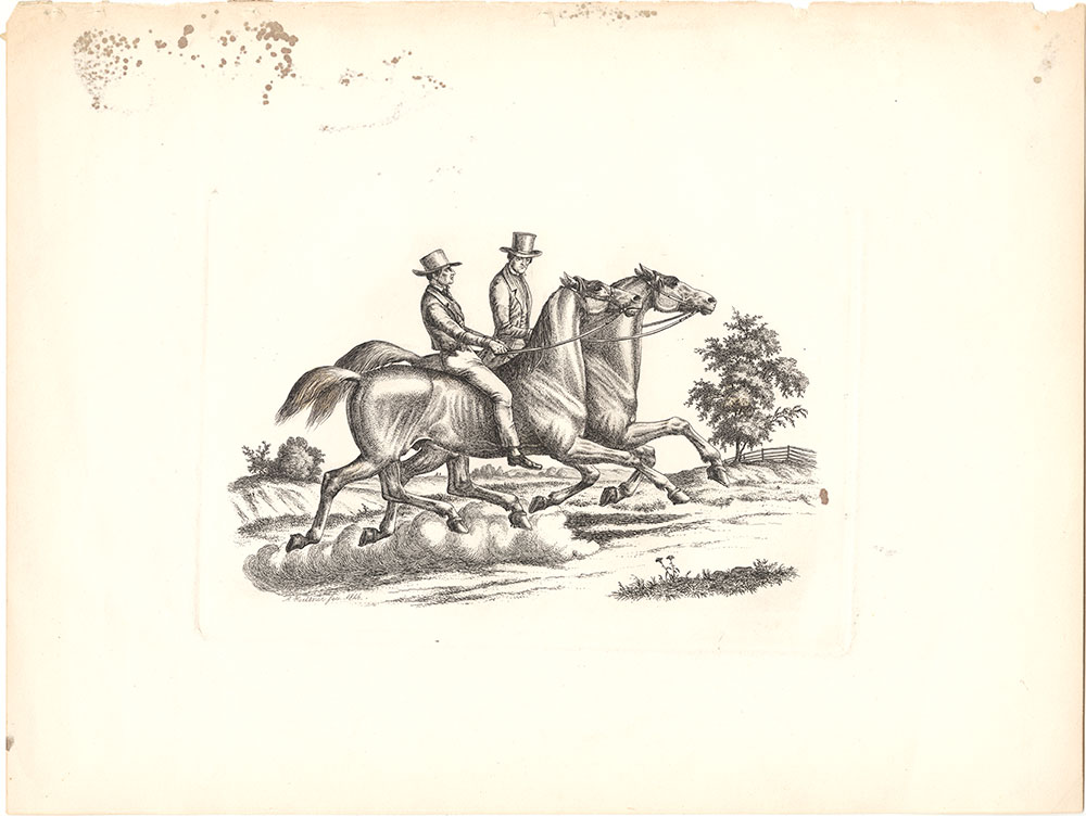 {Two gentlemen riders in motion}