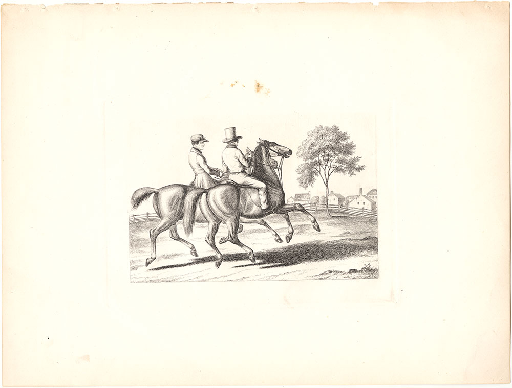 {Two riders on horseback}