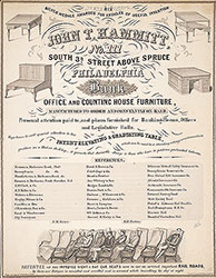 Advertisement poster {John T. Hammitt, No. 3 South 3rd St. Above Spruce Philadelphia, Office and Counting House Furniture.}