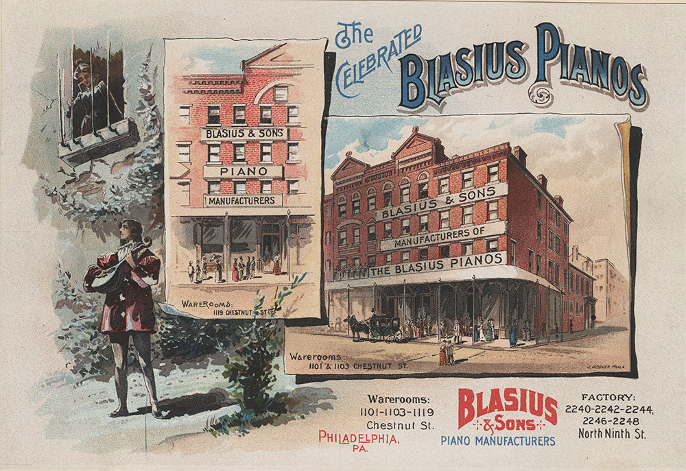 The celebrated Blasius Pianos. Blasius & Sons piano manufacturers. [graphic] : Warerooms: 1101-1103-1119 Chestnut St. Factory: 2240-2242-2244, 2246-2248 North Ninth St. Philadelphia Pa.