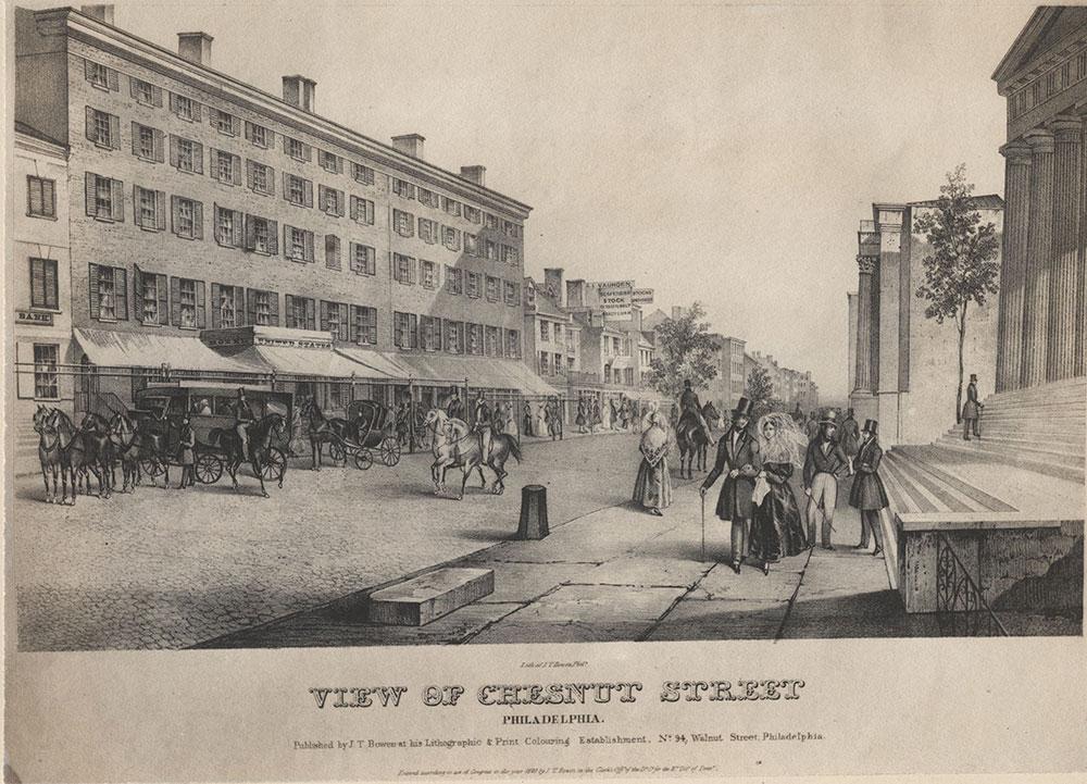 View of Chestnut Street Philadelphia. [graphic] / Lith. of J. T. Bowen, Phila.