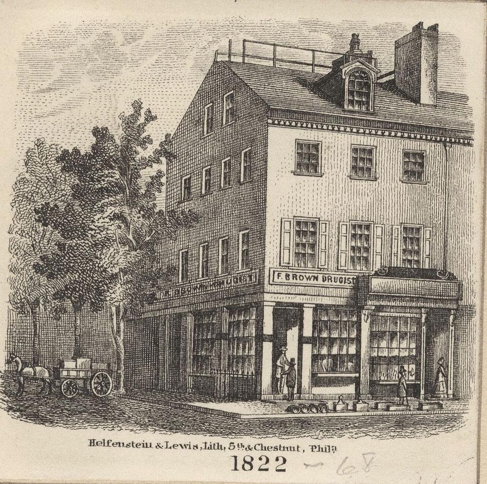 [F. Brown druggist, storefront] 1822. [graphic].