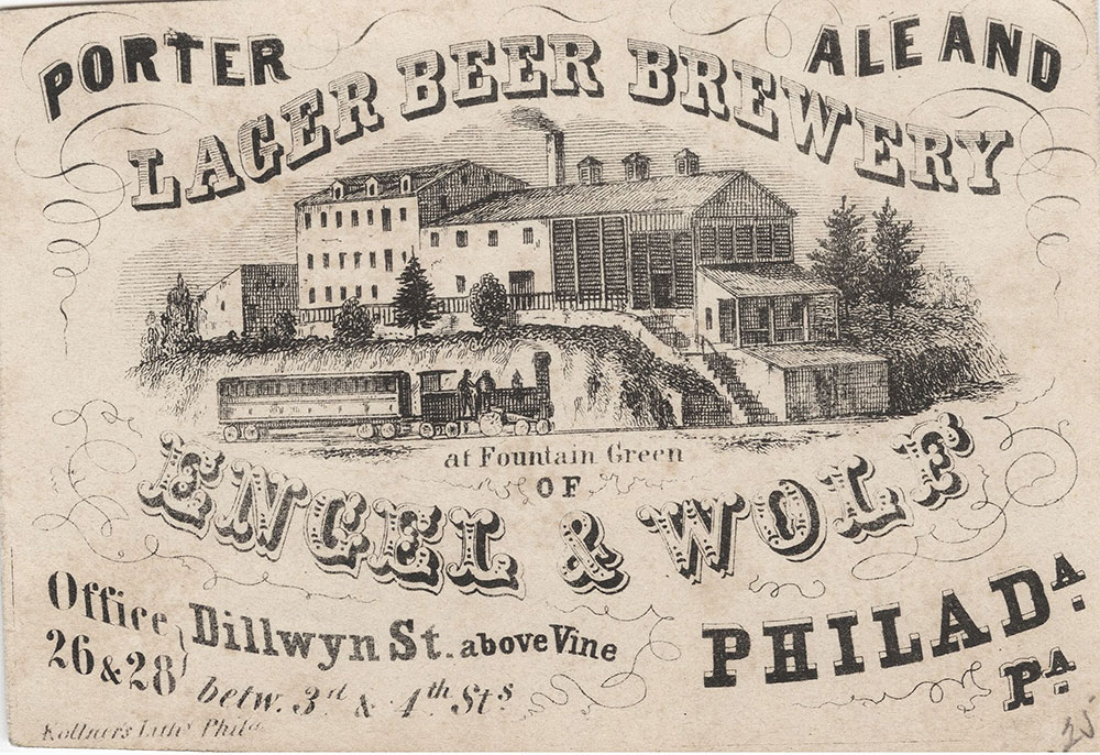 Porter ale and lager beer brewery at Fountain Green of Engel & Wolf [graphic] : Office Dillwyn St. above Vine 26 & 28 betw. 3d & 4th Sts. Philada. Pa.