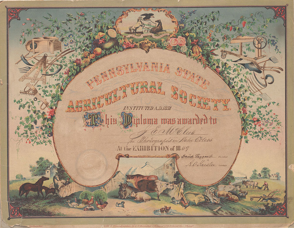 Pennsylvania State Agricultural Society [diploma] [graphic] / Painted & drawn on stone by M. Rosenthal.