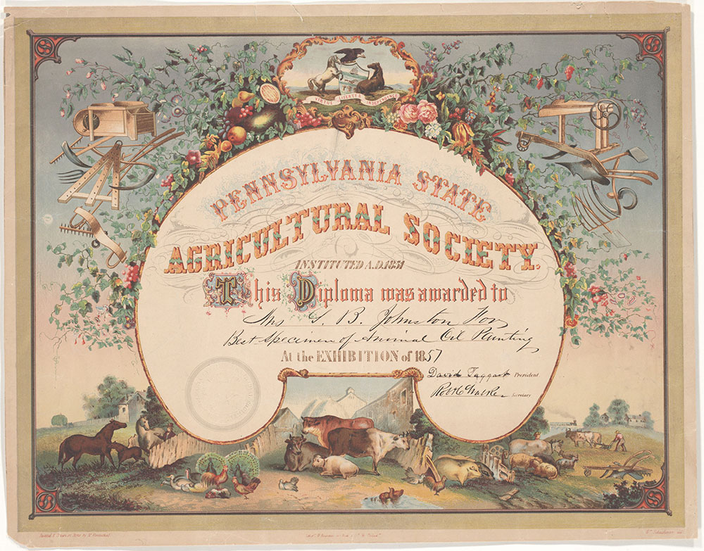 Pennsylvania State Agricultural Society [diploma] [graphic] / Painted & drawn on stone by M. Rosenthal; Wm. Schuchmun del.