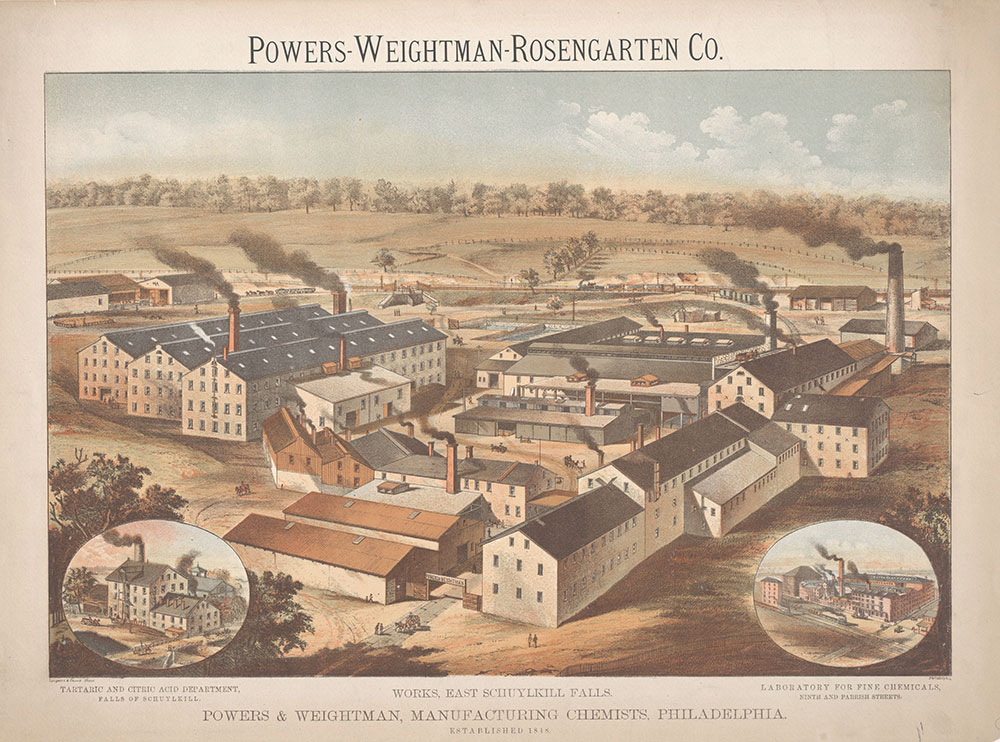 Powers-Weightman-Rosengarten Co. Works, East Schuylkill Falls. Powers & Weightman, Manufacturing Chemists, Philadelphia. Established 1818 [graphic] / A. Blanc Philadelphia.
