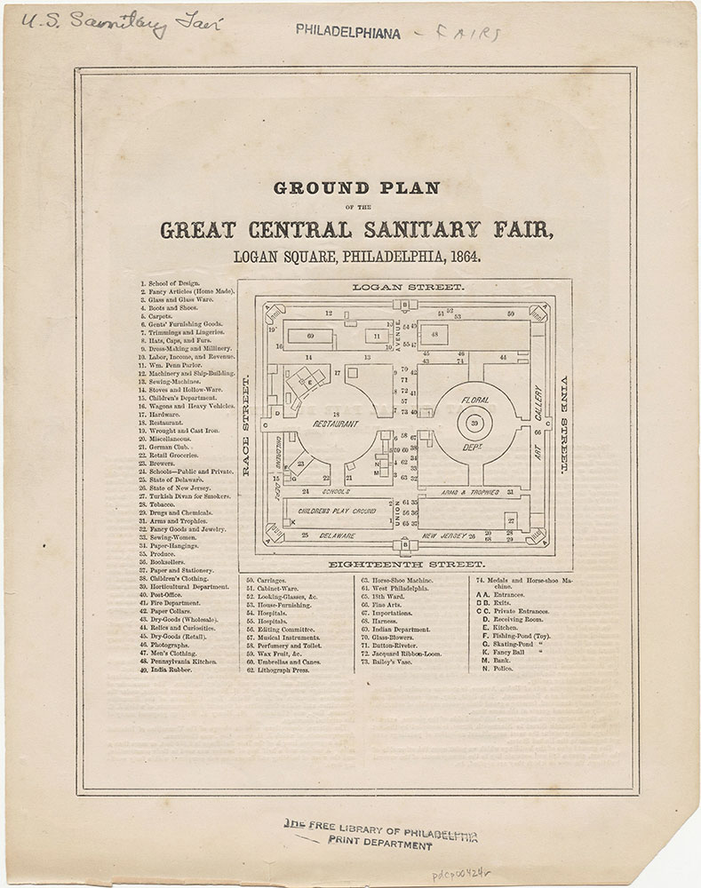 Ground Plan of the Great Central Sanitary Fair, Logan Square, Philadelphia, 1864.