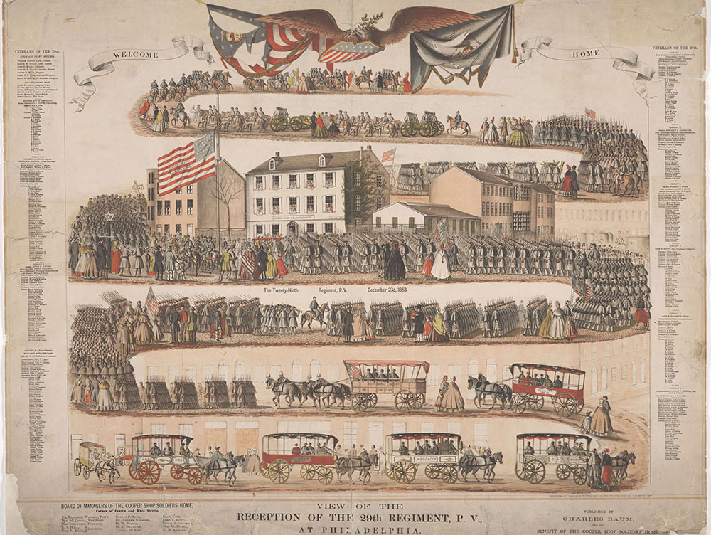 View of the Reception of the 29th Regiment, P.V., Philadelphia.