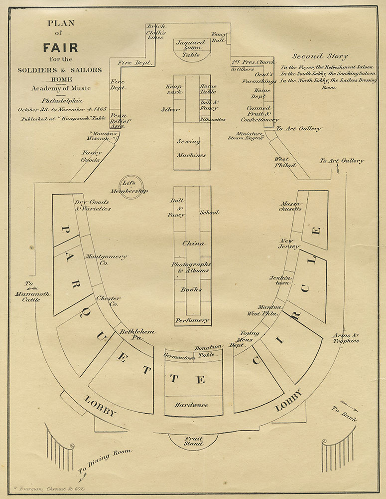 Academy of Music - Floor Plan for the Fair for the Soldiers and Sailors Home