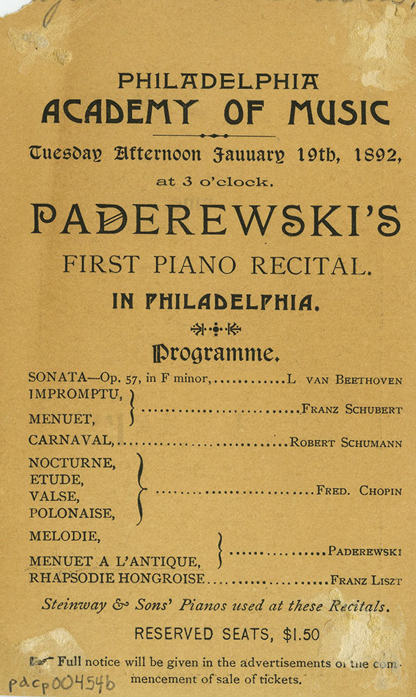 Academy of Music - Advertisment for Ignace J. Paderewski - Back