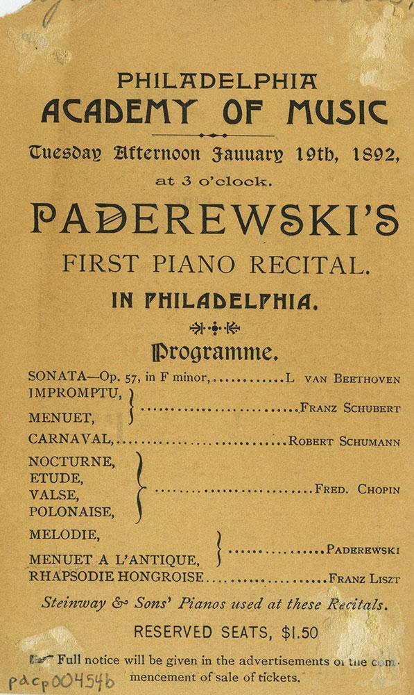 Academy of Music - Advertisment for Ignace J. Paderewski - Back