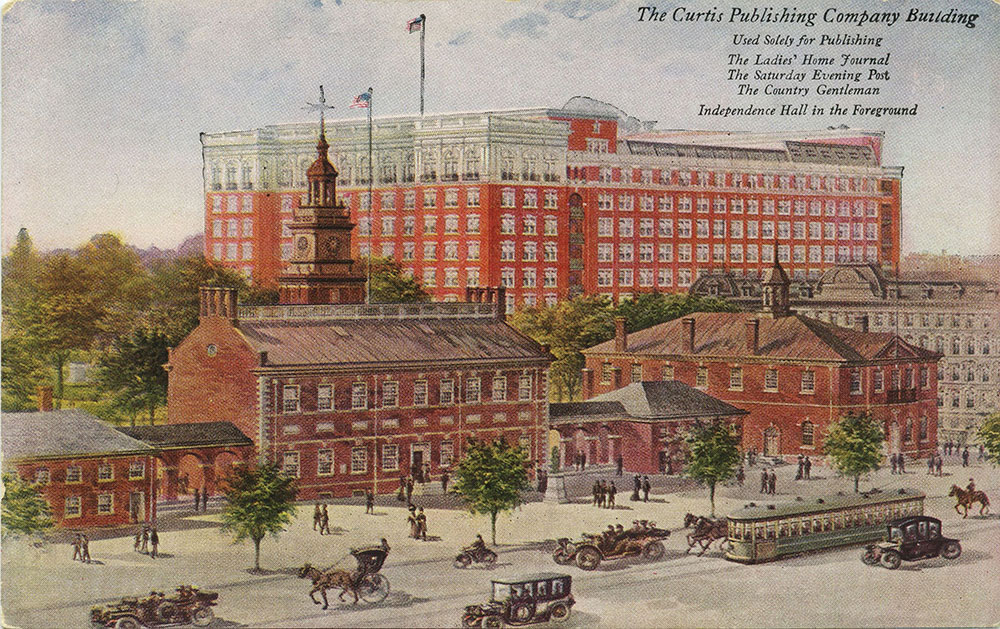 The Curtis Publishing Company Building with Independence Hall - Postcard