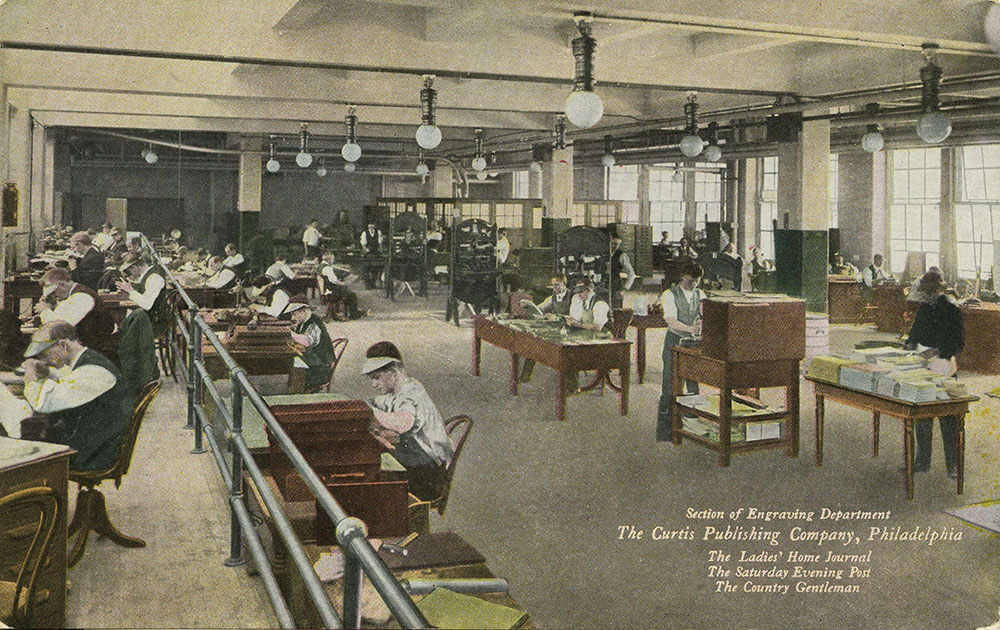 The Curtis Publishing Company - Section of Engraving Department - Postcard