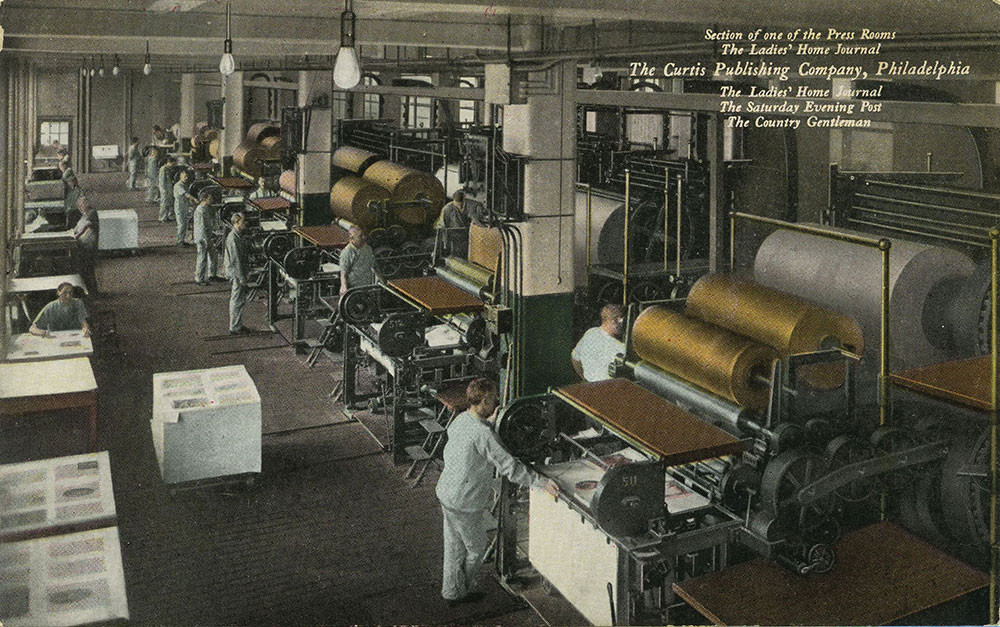 The Curtis Publishing Company - Section of one of the Press Rooms - Postcard