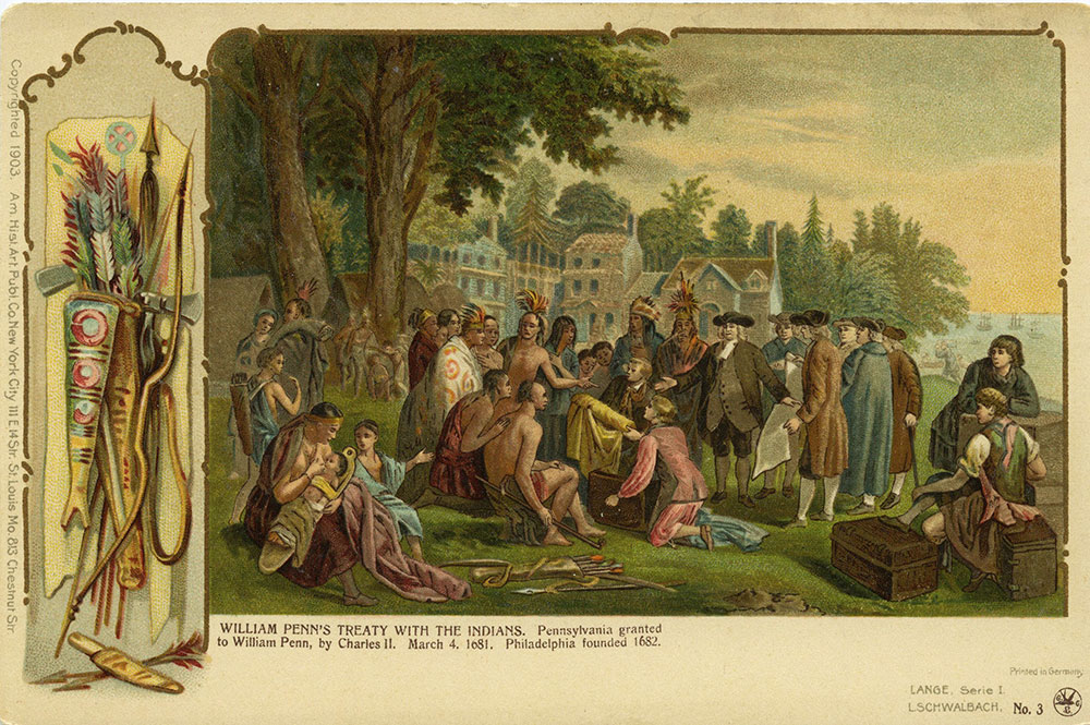 William Penn's Treaty With the Native Americans - Postcard