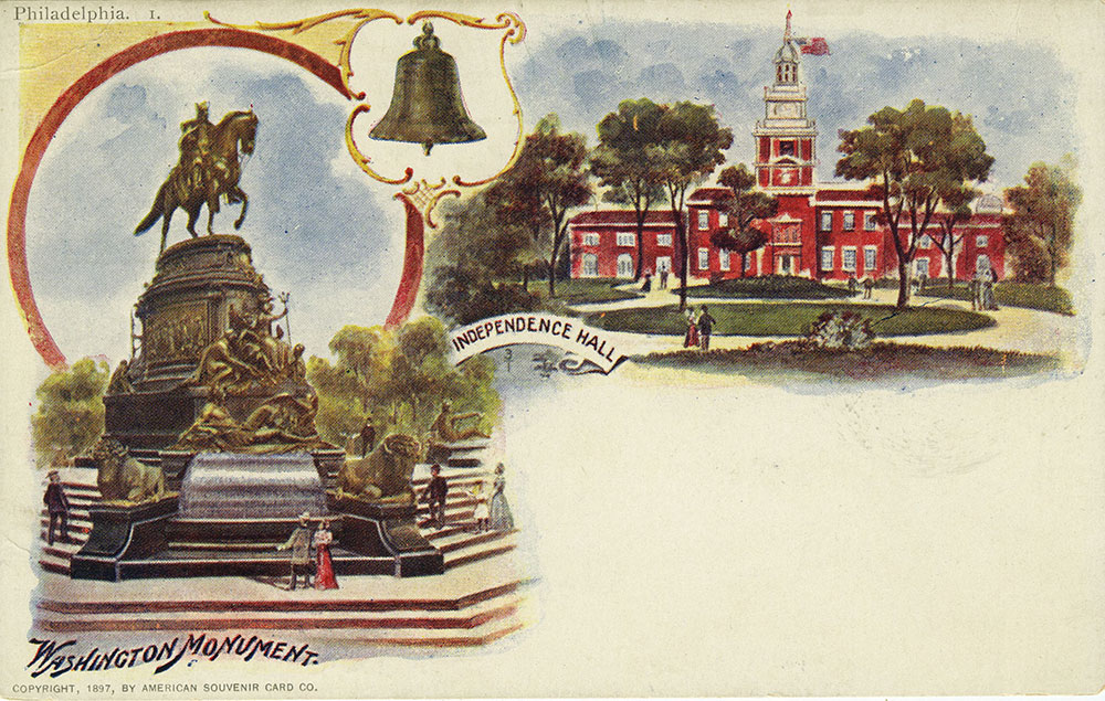 Independence Hall and Washington Monument Postcard