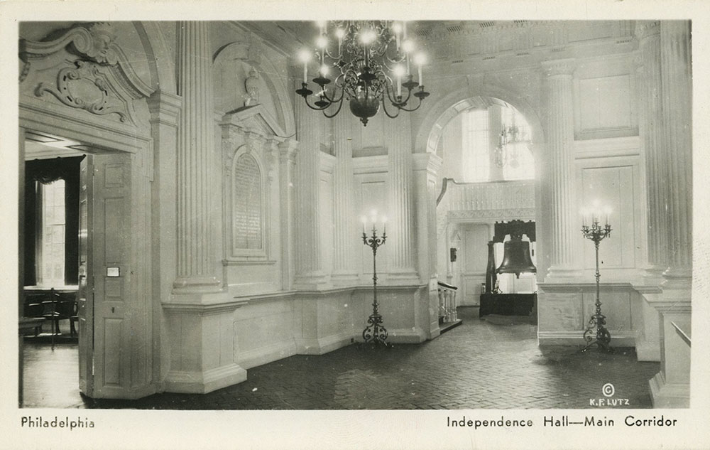 Main Corridor of Independence Hall - Postcard