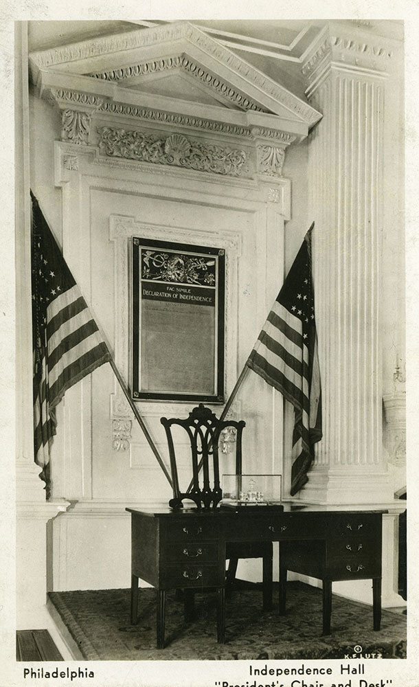 President's Chair and Desk - Independence Hall - Postcard