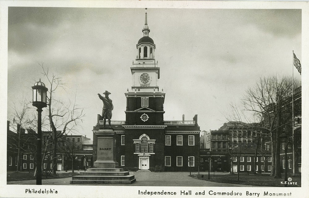 Barry Statue and Independence Hall - Postcard