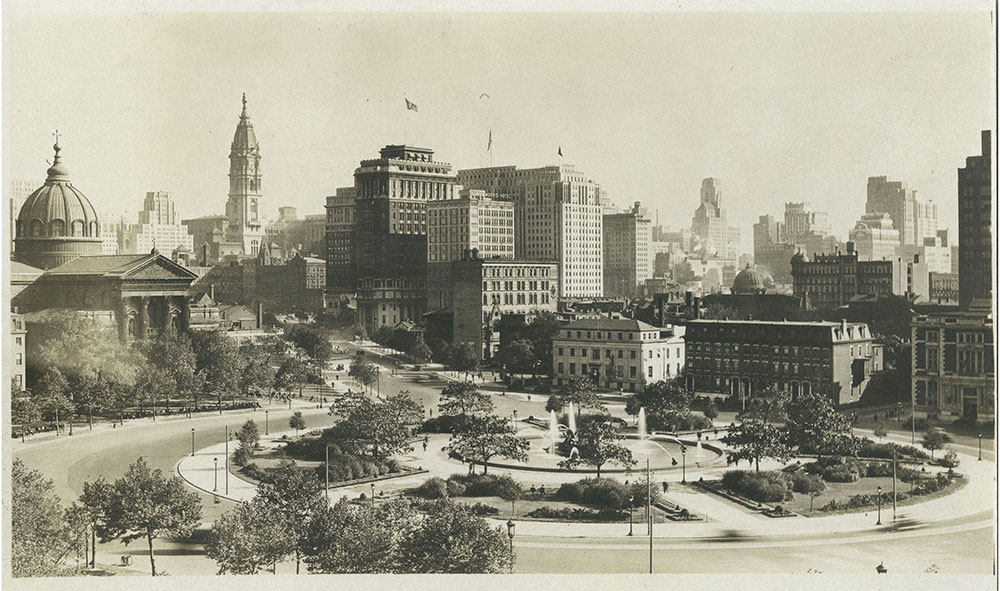 Logan Square with Skyline - Postcard