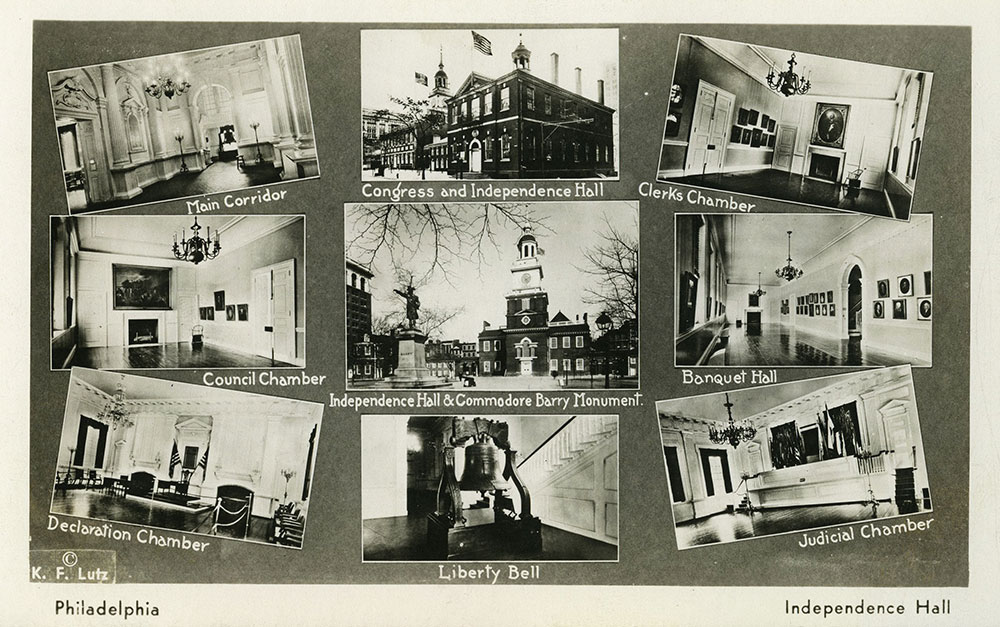 Multiple Views of Independence Hall - Postcard