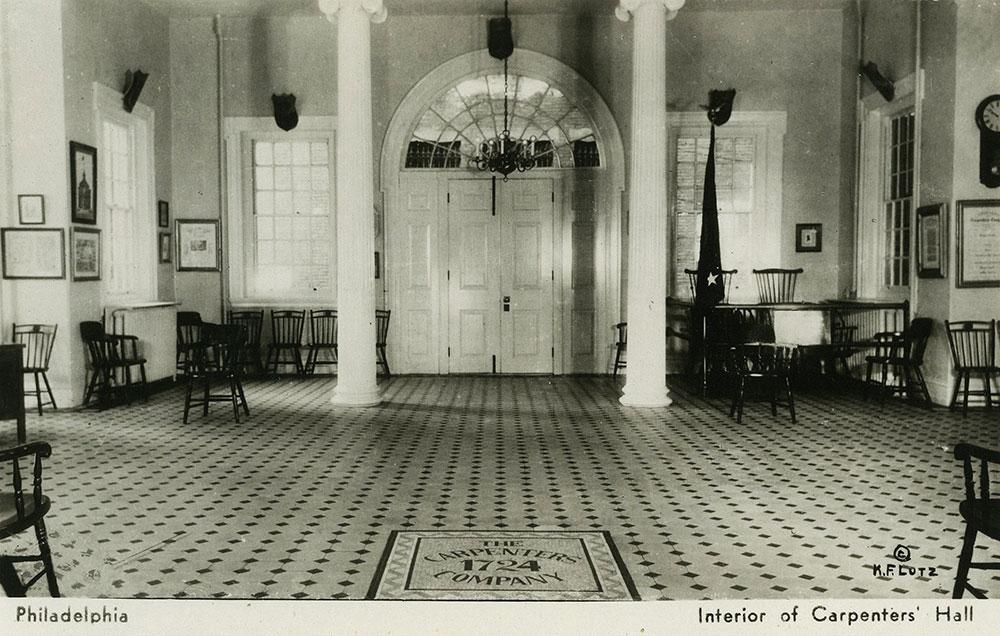 Interior of Carpenters' Hall (a) - Postcard