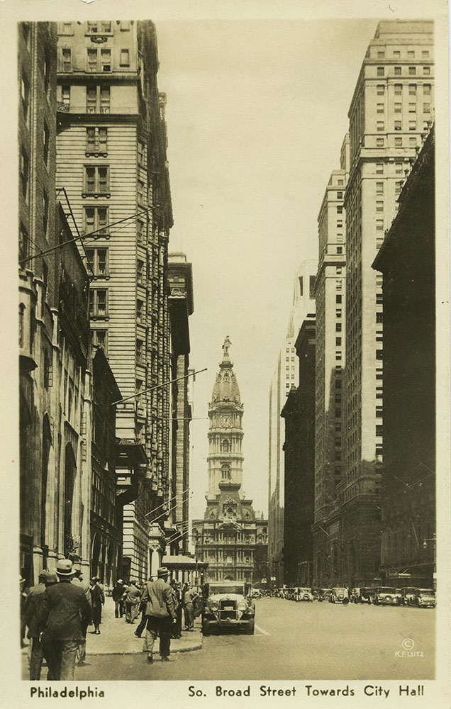 View Towards City hall from South Broad - Postcard