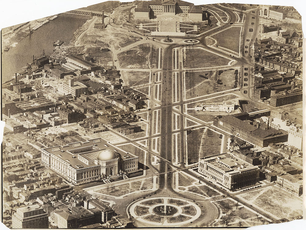 Parkway View with artist rendering of proposed Franklin Institute - 1930