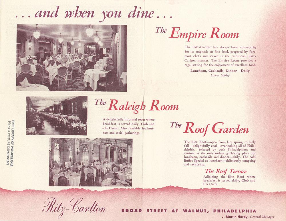 Ritz-Carlton pamphlet [verso]