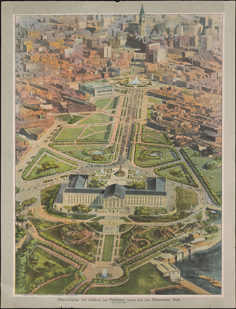 Philadelphia Art Gallery & Parkway, looking East from Fairmount Park (air plane view)