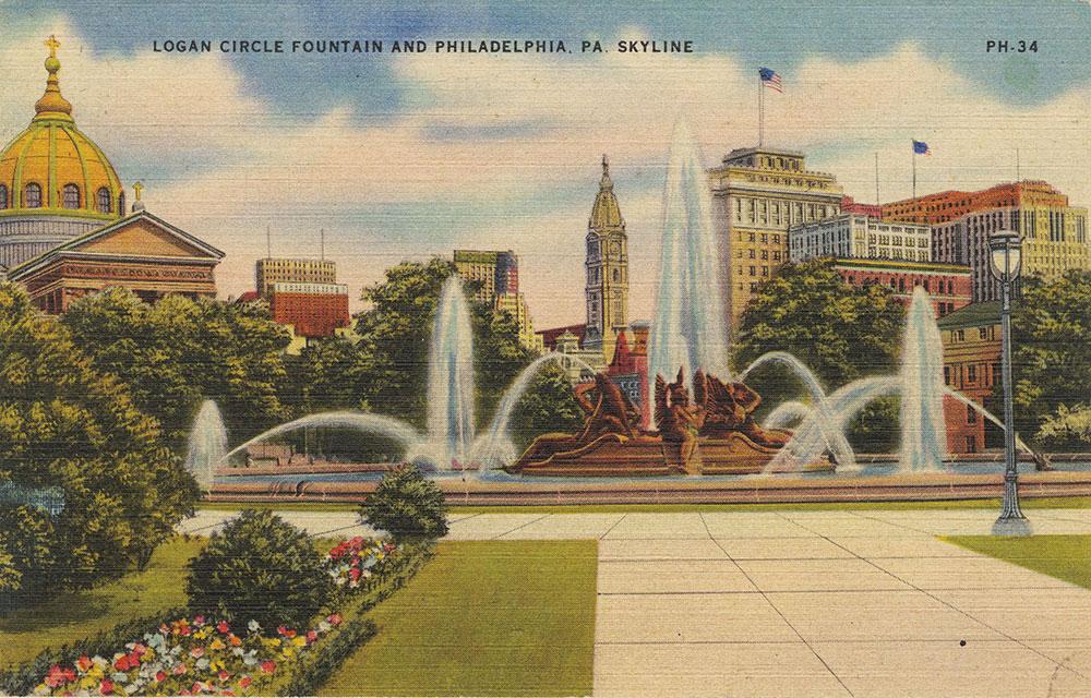 Logan Circle Fountain and Philadelphia, Pa. Skyline
