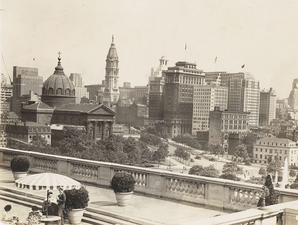 Benjamin Franklin Parkway view from Free Library