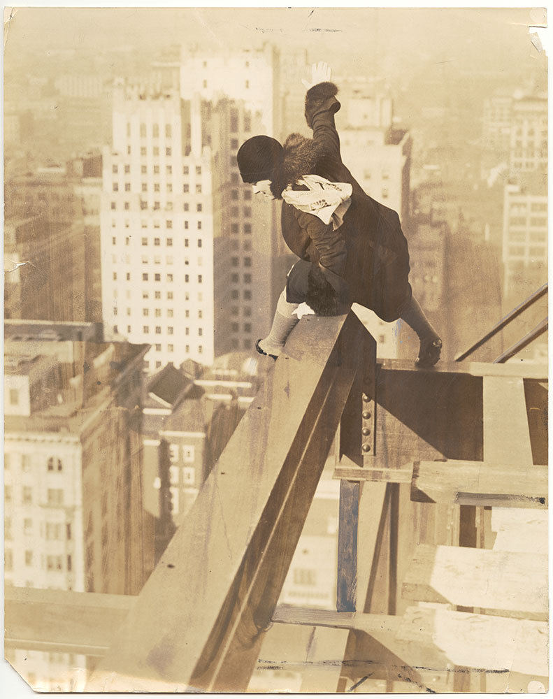 Vivian Shirley on top of the Drake Hotel (under construction)