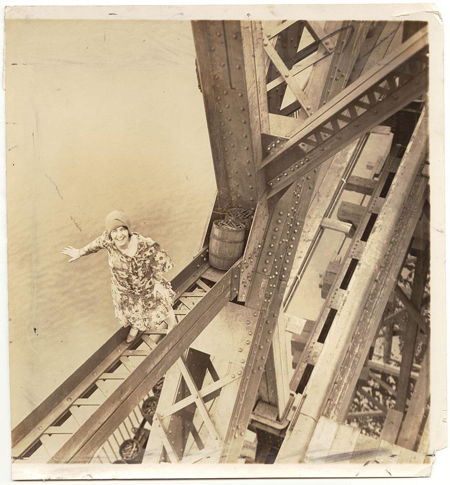Vivian Shirley climbing the Tacony-Palmyra Bridge (under construction)