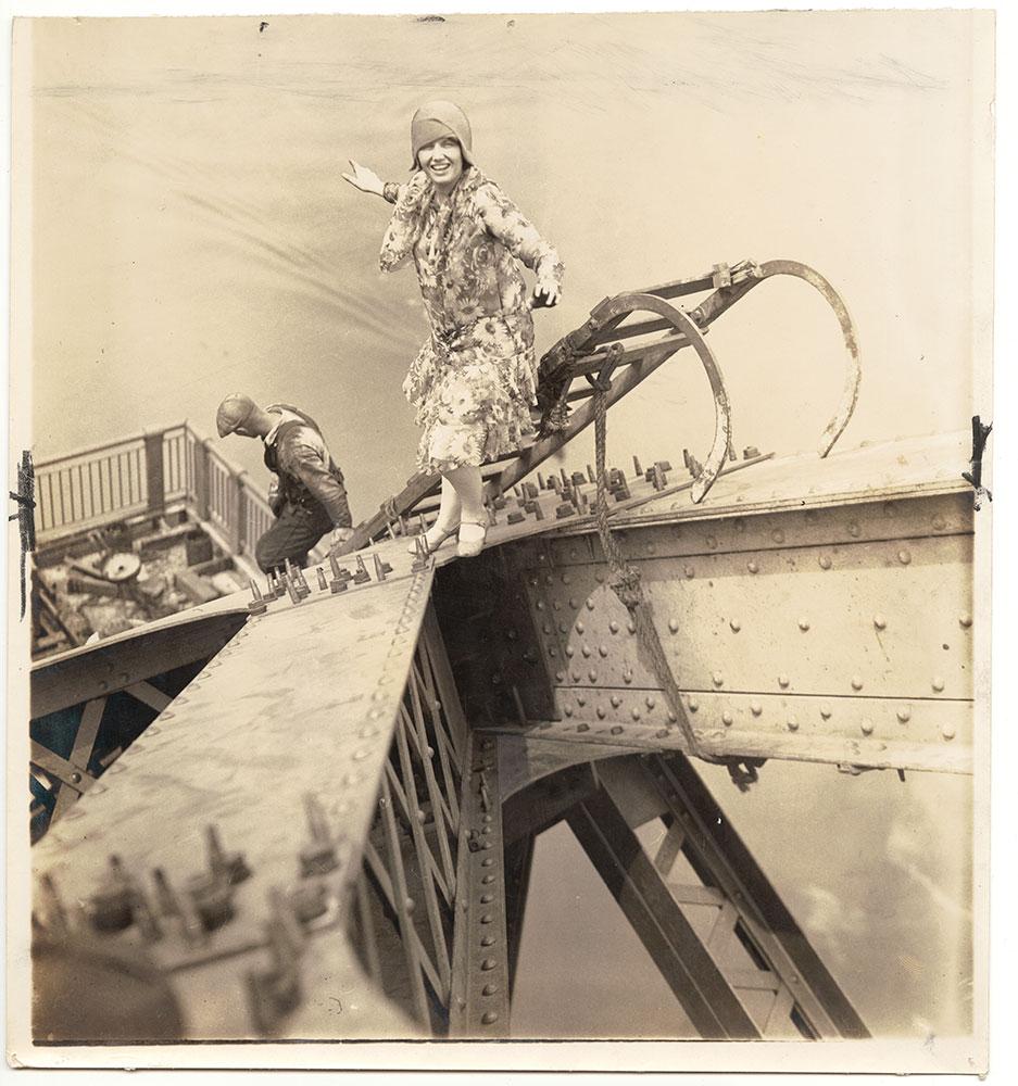 Vivian Shirley standing atop the Tacony-Palmyra Bridge (under construction)
