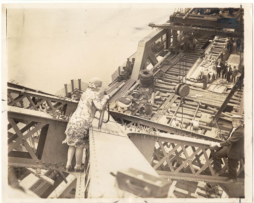 Vivian Shirley, driving a rivet on the Tacony-Palmyra Bridge (under construction)