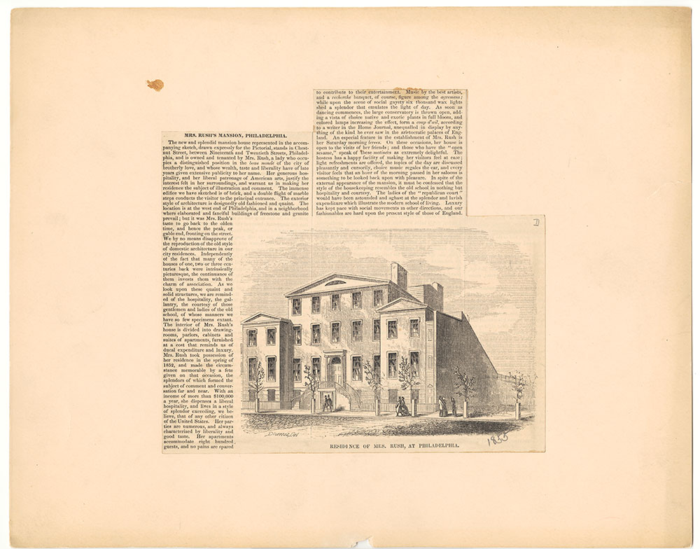 Residence of Mrs. Rush, at Philadelphia