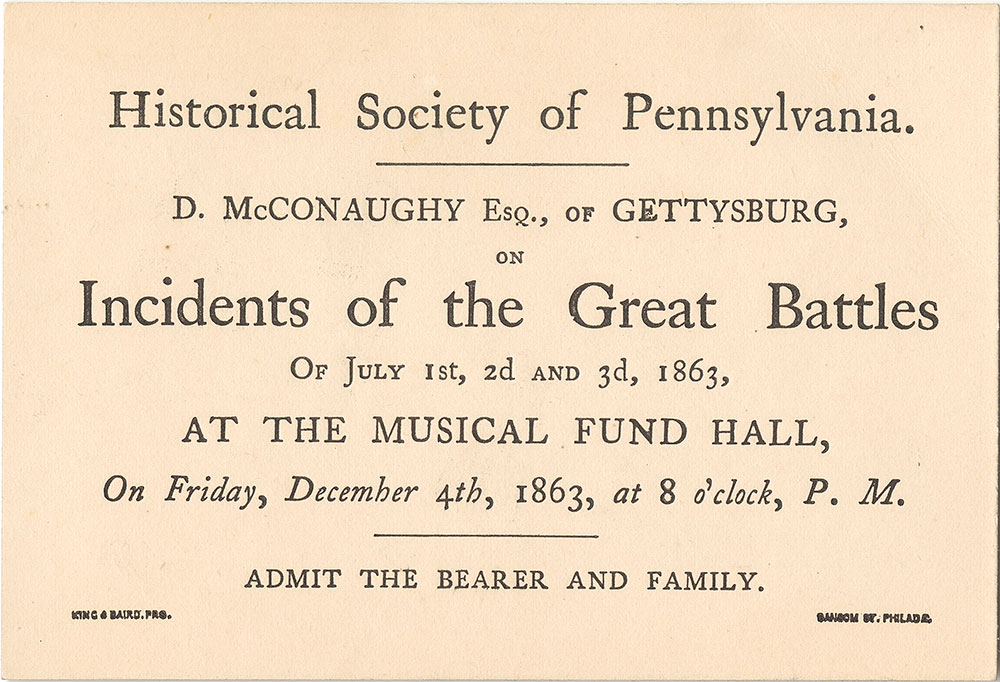 Musical Fund Hall--Admission card for lecture about Civil War