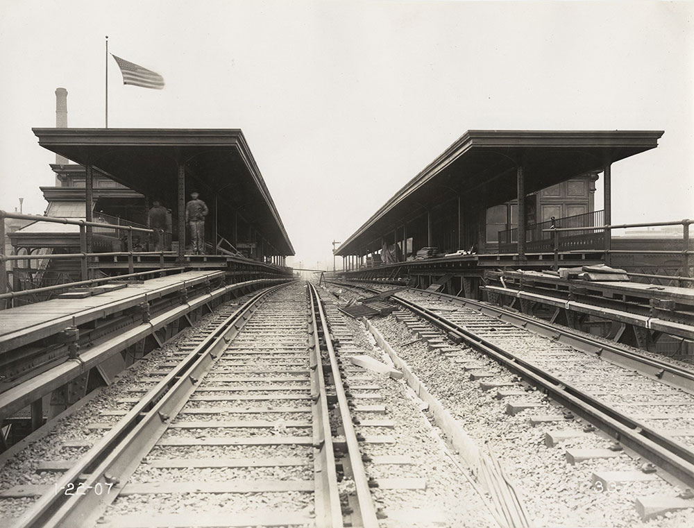 Elevated train station under construction