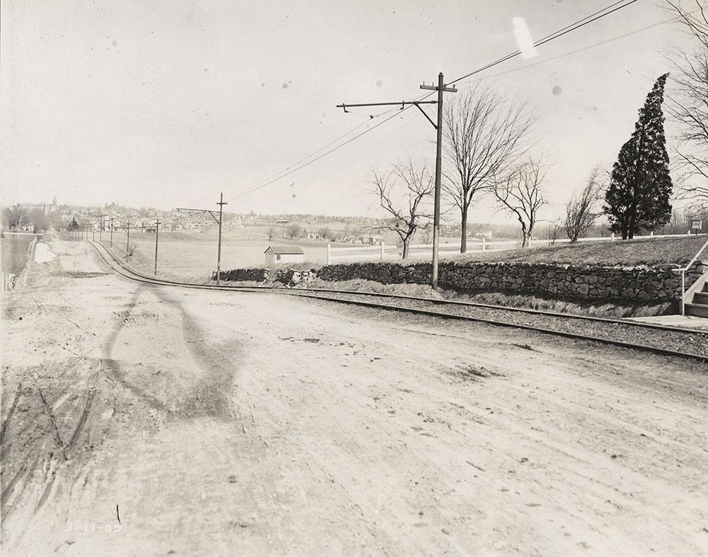 Trolley tracks, semi-rural scene
