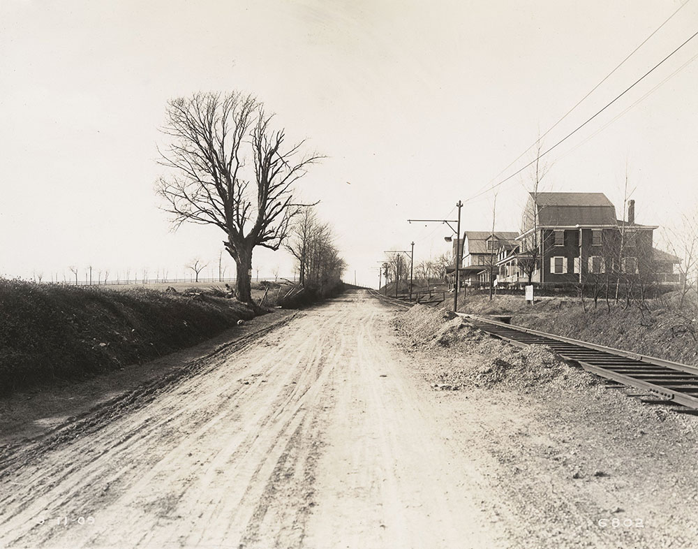 Trolley tracks, semi-rural scene