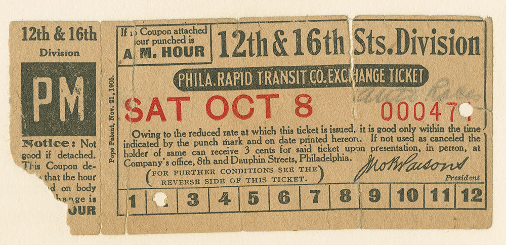 Phila. Rapid Transit Co. Exchange Ticket, 12th & 16th Sts. Division