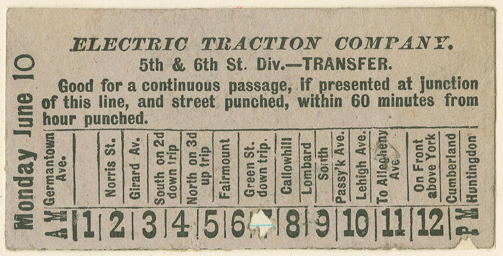 Electric Traction Company. ticket