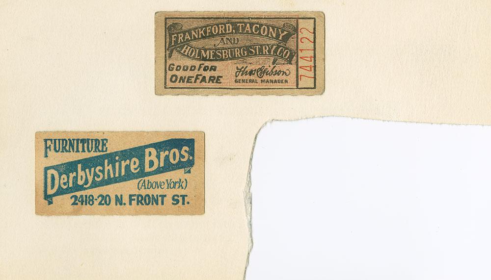 Frankford, Tacony and Derbyshire Bros. tickets