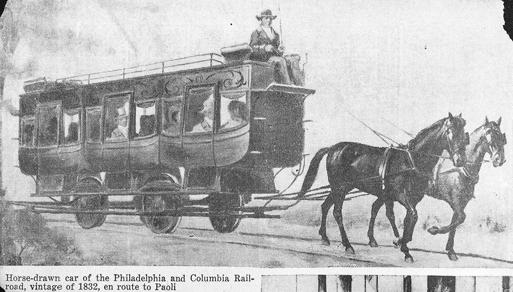 Horse drawn car of Philadelphia and Columbia rail road