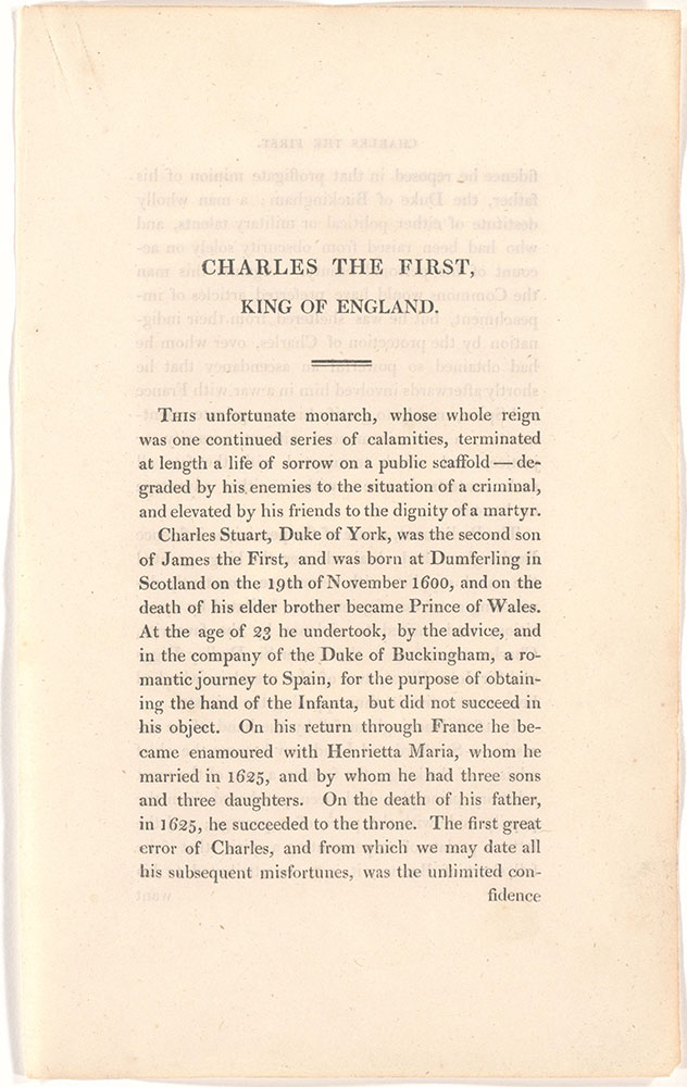 Charles The First, King of England unidentified text page 1