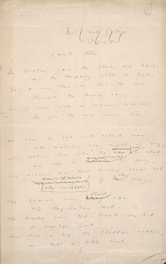 AMS [fragment] of the Ballad of Reading Gaol; Canto III with comment, page 1