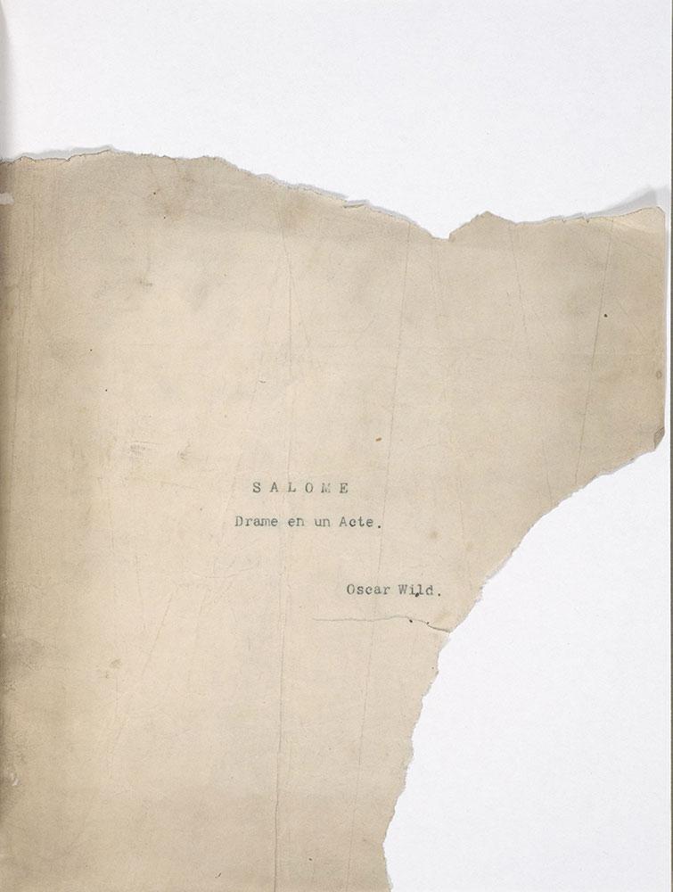 Typescript of Salome to Pierre Louys