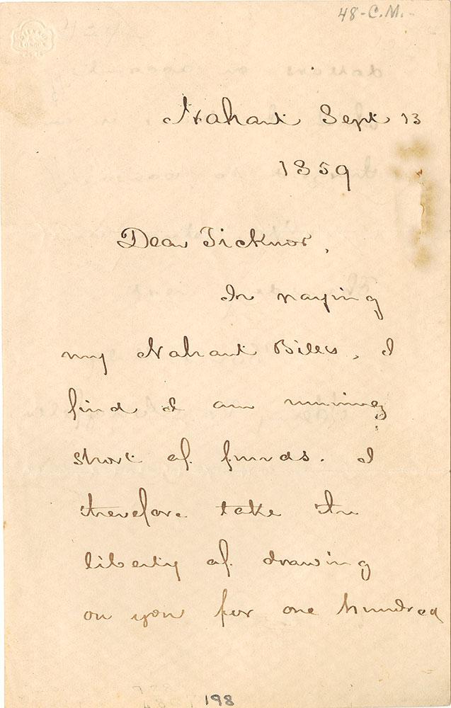 ALs to William Ticknor, page 1
